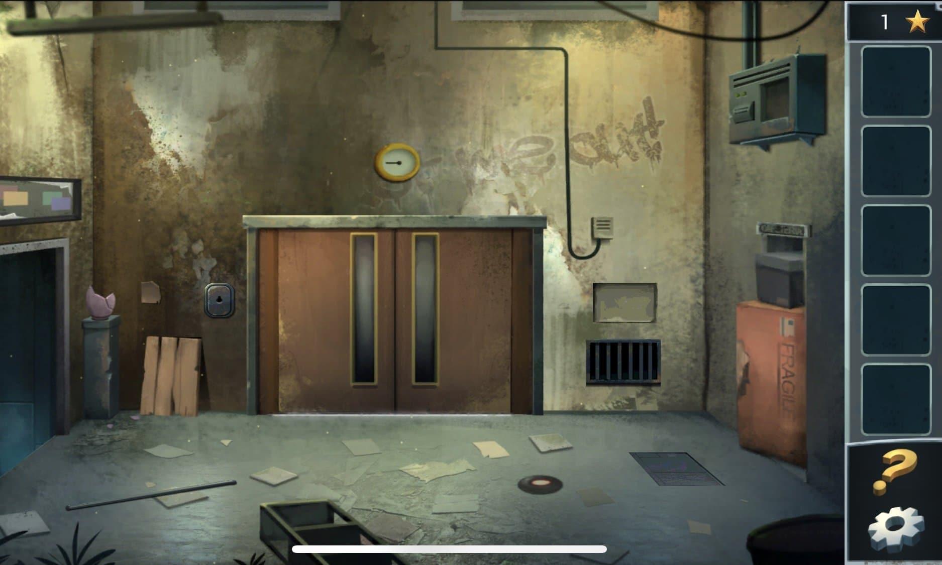 В лифтовом холле возьмите на полу палку и обратите внимание на вентиляционную шахту – около дверей. Через вентиляционную шахту Вы пройдете в столовую комнату