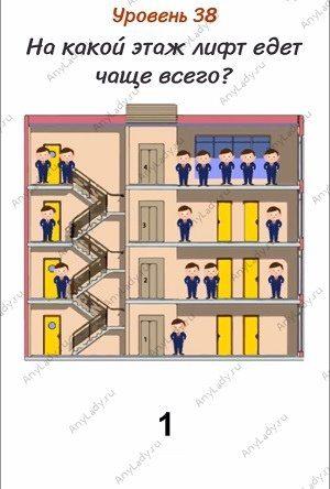 Уровень 38 На какой этаж лифт едет чаще всего? Лифт едет чаще всего на первый этаж.