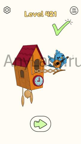 Dop:Draw One Part Ответ Level 421. Птичка должна вылетать на подставке, нарисуйте линию от птички к часам.