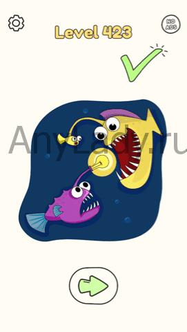 Dop:Draw One Part Ответ Level 423. Дорисуйте кружок на конце переднего хвостика рыбки.